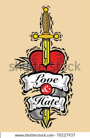 Love and hate tattoos for Love n hate tattoo