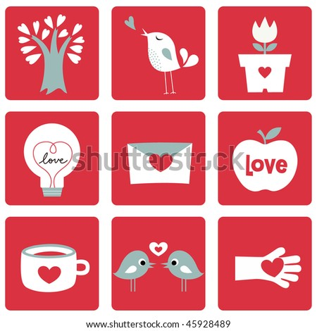 Vector illustration of Love icons. Ideal for Valentine Cards decoration
