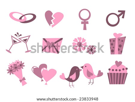 Vector illustration of Love icons.  Ideal for Valetine Cards decoration