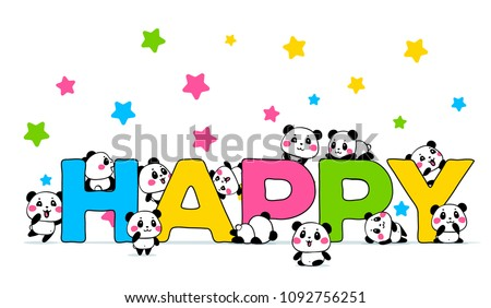 Vector illustration of lovely cartoon many panda with a big bright word on white background with star. Happy little cute panda. Flat line art style hand drawn design for poster, greeting card