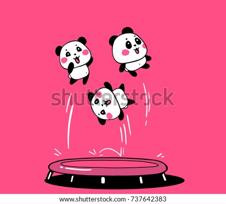 Vector illustration of lovely cartoon pandas jump on a trampoline on pink background. Happy cute pandas fly high in the air. Flat line art style design for poster, greeting card, print, shirt, sticker