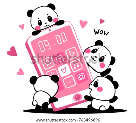 Vector illustration of lovely cartoon pandas with pink color big phone on white background. Happy little cute pandas and new gadget. Flat line art style hand drawn design for poster, greeting card