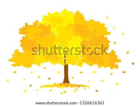 Vector illustration of lush golden tree with yellow flowers isolated on white background