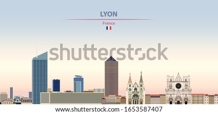 Vector illustration of Lyon city skyline on colorful gradient beautiful daytime background