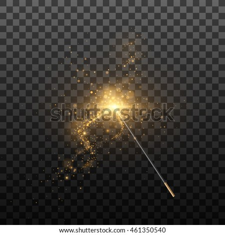 Vector illustration of magic wand. Isolated on black transparent background.