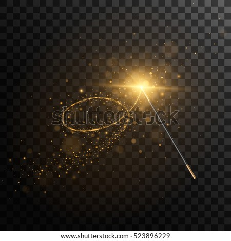 Vector illustration of magic wand. Isolated on black transparent background. Eps 10.