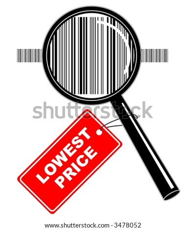 """Vector illustration of magnifier with """"lowest price"""" label"""