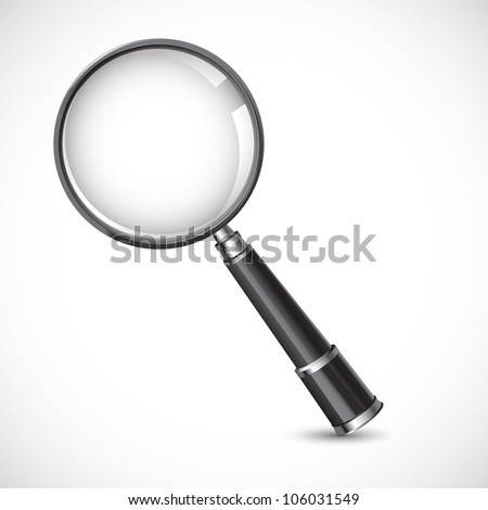 vector illustration of magnifying glass against white background