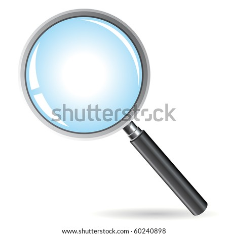 Vector illustration of magnifying glass isolated on white background.