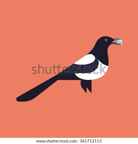 vector illustration of magpie