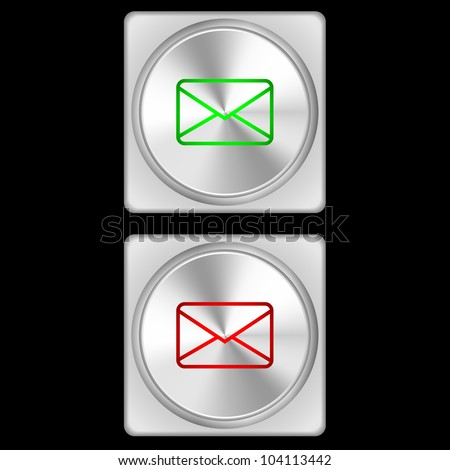 Vector illustration of mail buttons in two stages - green and red.