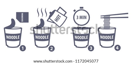 Vector illustration of making instant cup noodle, step by step how to make cup noodle