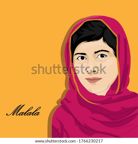 Vector illustration of Malala Yousafzai, Malala Yousafzai also known as a Pakistani activist for women's education and the youngest Nobel Prize Сток-фото ©