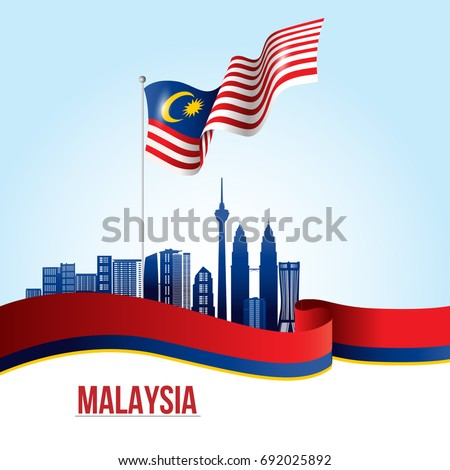 Vector illustration of Malaysia flag and city of Kuala Lumpur
