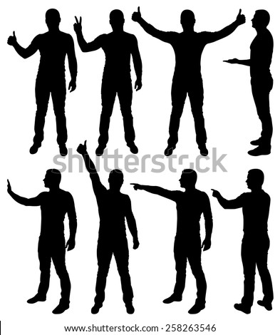 Vector illustration of male silhouettes.