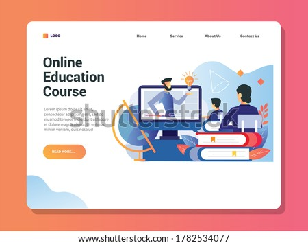 Vector illustration of male teacher explain a subject in class, online conference, online course education lectures and training online during pandemic covid-19 back to school