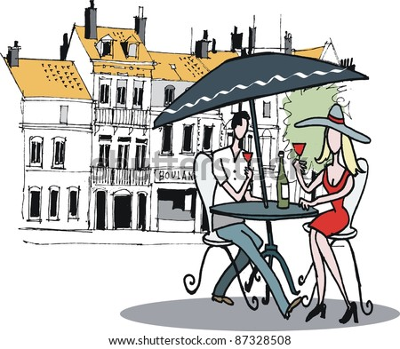 Vector illustration of man and woman at outdoor cafe, France.