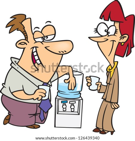 Vector illustration of man and woman gossiping around water cooler