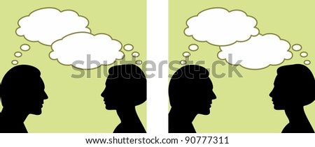 Vector Illustration of man and woman with thought bubbles