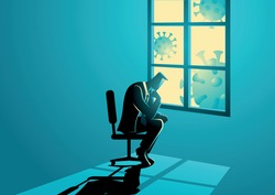 Vector illustration of man figure sitting sadly near the window. Coronavirus impact in business, economic recession, covid-19 pandemic concept