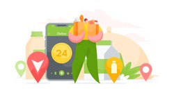 Vector illustration of man in courier uniform carrying paper bags with fresh groceries from shop while working for online delivery service