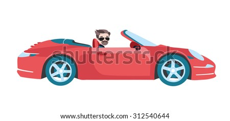 Vector illustration of man in glasses driving red cabriolet car on white isolated background