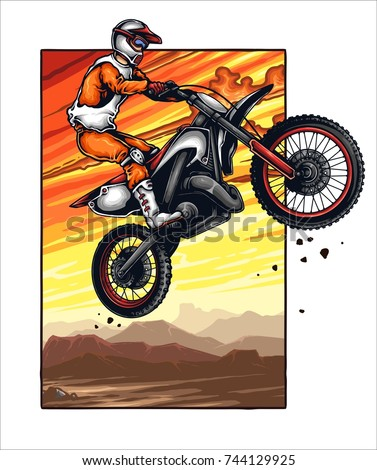 Vector illustration of man jumping with the motocross with sunset scenery background