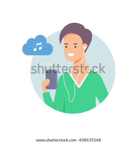 Vector illustration of man listening to music on smartphone connected to cloud server