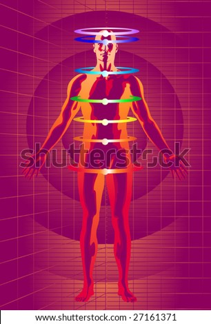 Vector illustration of man meditating  as his chakras energy centers are activated with the help of cyber space technology