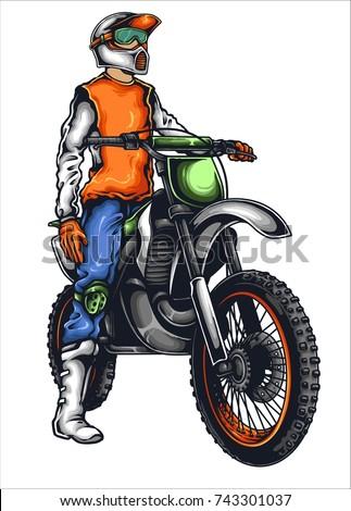 Vector illustration of man on the motor trail