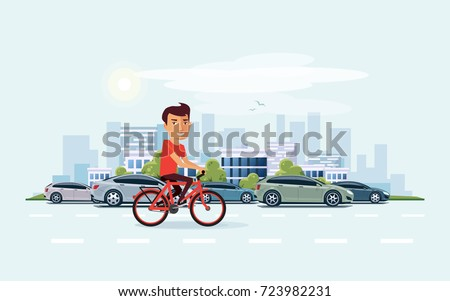 Vector illustration of man riding a bicycle in the city with cars in cartoon style. Urban skyline building landscape with traffic jam behind the person on bike.