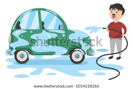 stock-vector-vector-illustration-of-man-washing-car