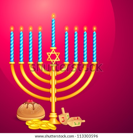 vector illustration of manorah and dreidel wishing Israel New Year