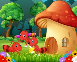 vector illustration of many ants and a mushroom house in forest