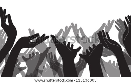Vector illustration of many hands