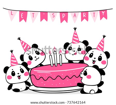 Vector illustration of many lovely cartoon pandas with big pink birthday cake on white background with flags. Happy cute pandas celebrate birthday. Flat line art style design for poster, greeting card