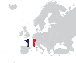 vector illustration of Map of France with national flag