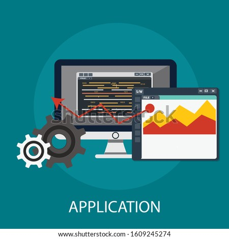 """Vector illustration of marketing and information concept with """"mobile application"""" mobile and application icon."""
