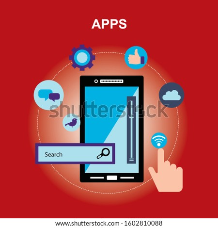 """Vector illustration of marketing & information concept with """"mobile application"""" mobile and application icon."""
