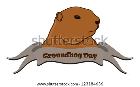 Vector illustration of marmot with ribbon in front, isolated on white background