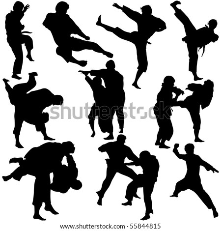 Vector illustration of Martial Arts Silhouette. This file is vector for easy editing.