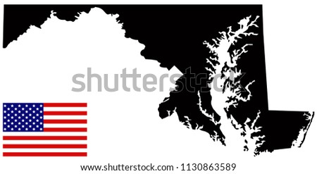 vector illustration of Maryland map with USA flag