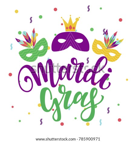 Vector illustration of masquerade and carnival masks and feathers. Mardi gras hand drawn lettering..