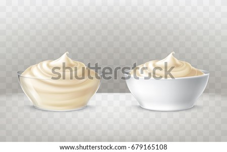 Vector illustration of mayonnaise, sour cream, sauce, yogurt, cosmetic product for face and body, swirling in a transparent and white bowl, in realistic style, isolated. Print, template