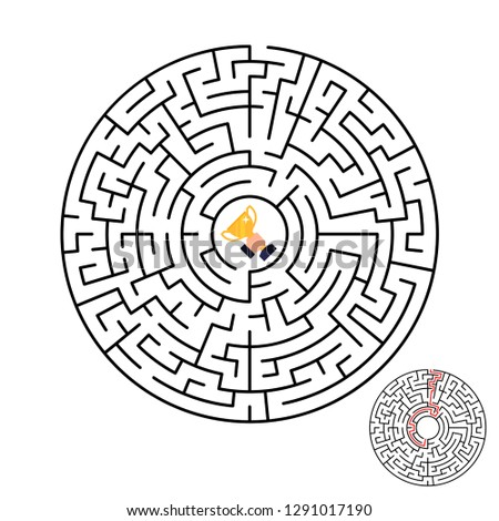 Vector illustration of maze labyrinth with award in flat style.