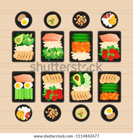 Vector illustration of meal preparation. Portion of food in container and snacks. Healthy lifestyle food. Meat rice and salad. Meal prep for a week.