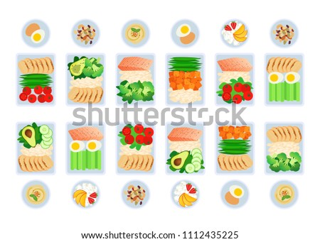 Vector illustration of meal preparation. Portion of food in container, snacks and fruits. Healthy lifestyle food. Meat rice and salad. Meal prep for a week.