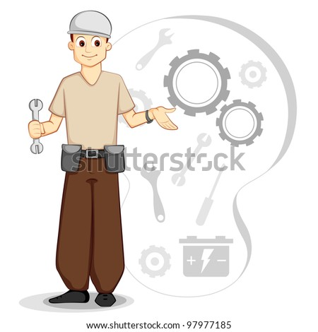 vector illustration of mechanic with tool and gear