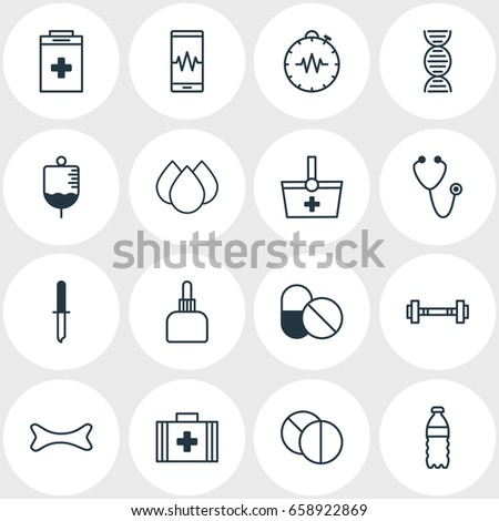 Vector Illustration Of 16 Medical Icons. Editable Pack Of Antibiotic, Dumbbell, Pressure Gauge And Other Elements.