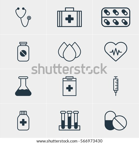Vector Illustration Of 12 Medical Icons. Editable Pack Of Pulse, Heart Rhythm, Experiment Flask And Other Elements.